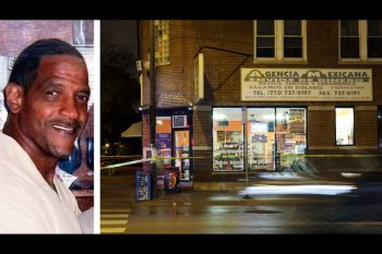 split screen of suspected armed robber and store front in Chicago where armed good guys came to the rescue
