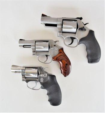 three snubnose revolvers