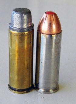 255-grain SWC handload on the left and Hornady FTX, right