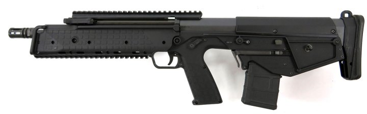 closeup showing the magazine release on the Kel-Tec RDB17 rifle