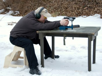 Shooting a 1911 pistol from a benchrest