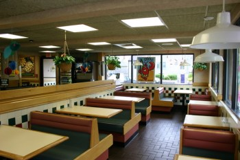 empty diner showing several booths and tables for training situational awareness