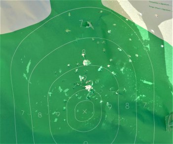 green silhouette target after being hit with buckshot