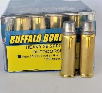 Plastic box of Buffalo Bore .38 Special ammunition