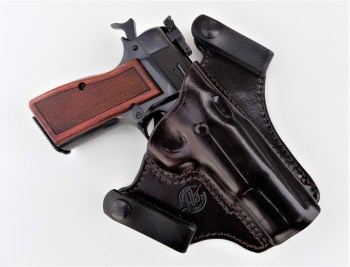 Browning Hi Power in a black Jeffrey Custom Leather holster front