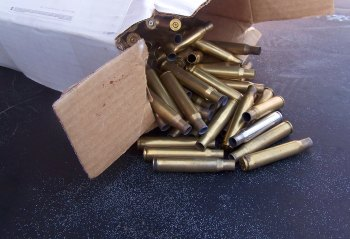 Box of empty rifle cartridge cases
