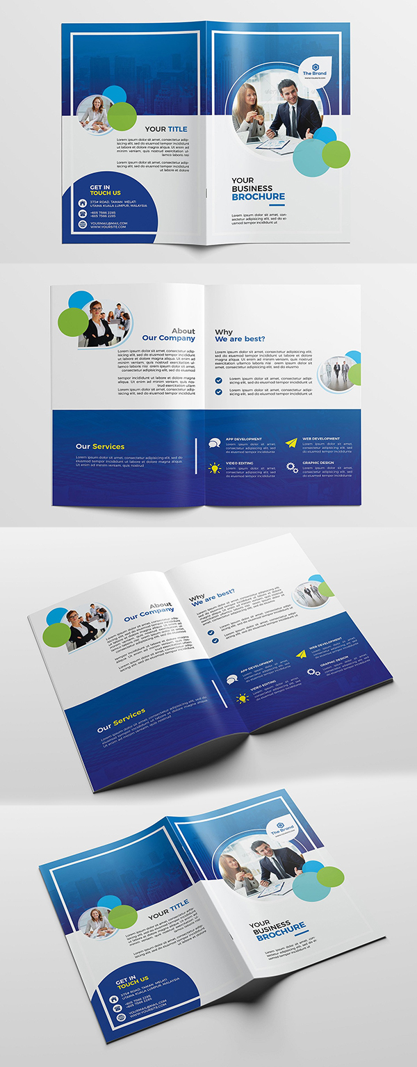 Plantilla de folleto corporativo bifold