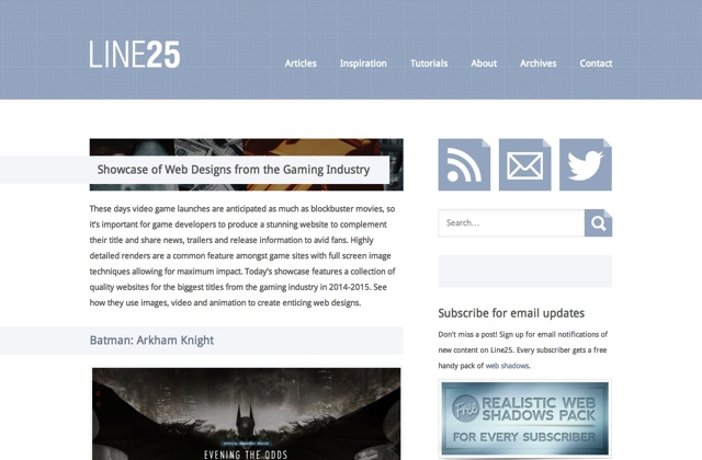 Showcase of Web Designs from the Gaming Industry