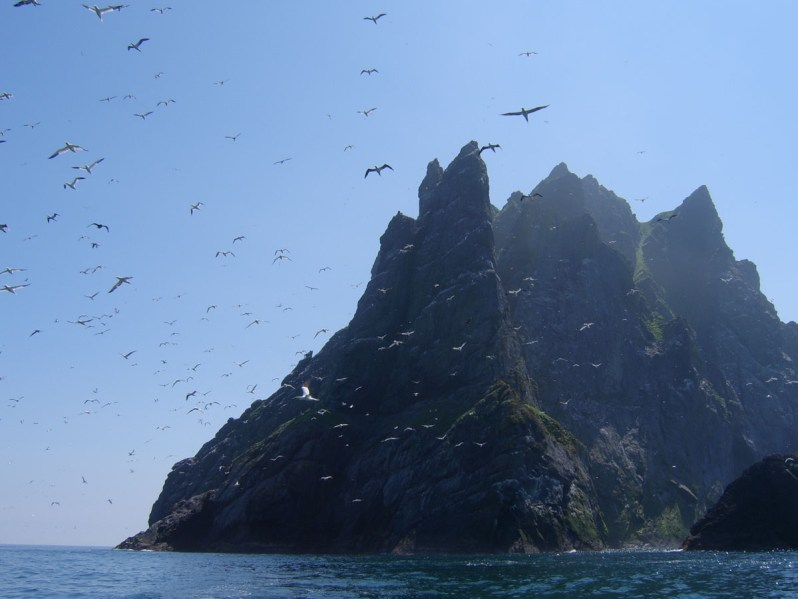 Hundreds of gannets flying in front of and above an impressive island with steep cliffs, in a blue sea, under a blue sky
