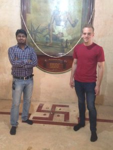 Selfie right next to Gandhi's birth place in Porbandar (the symbol on the floor is where he was born). Is that inappropriate? The other guy thought not so I went with it. Photo © Karl Rock.