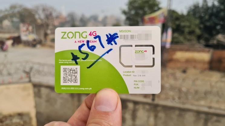Backside of Zong 4G Pakistan SIM Card
