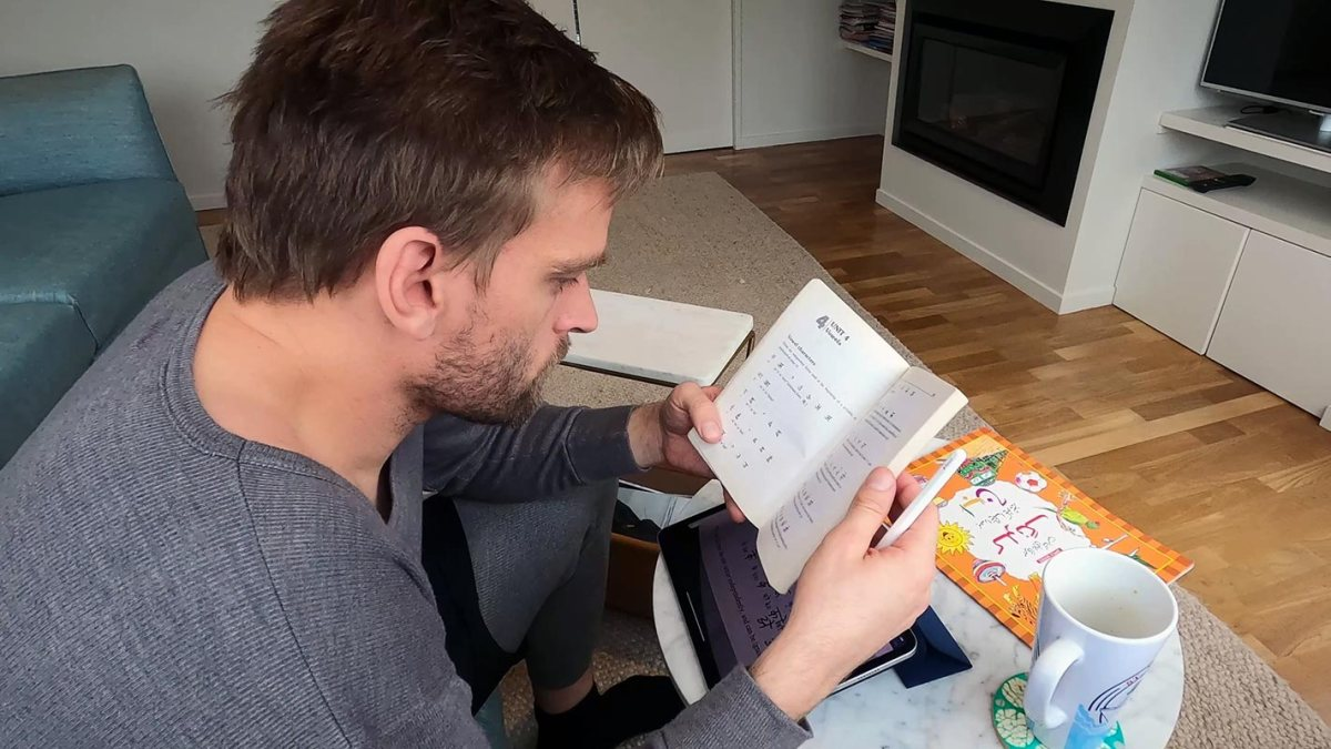 Karl Rock Studying Hindi