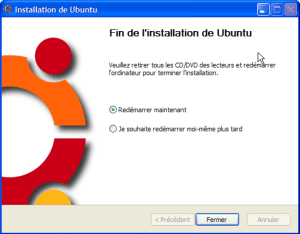 Wubi 8.04 - Redémarrage de Windows