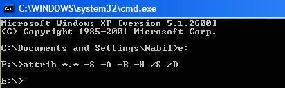 Commande MS-DOS Attrib