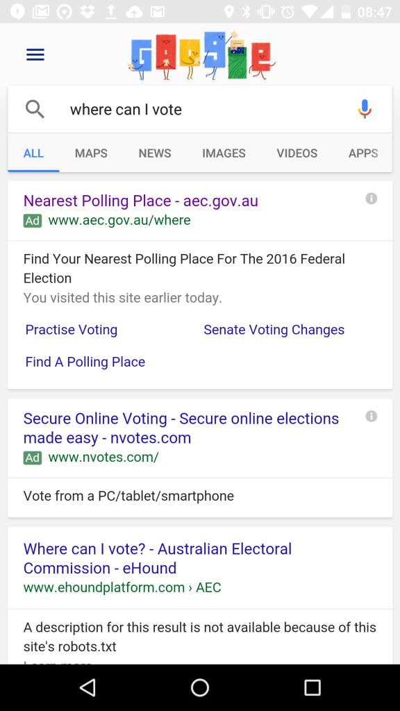 Where can I vote today? Google Now results.