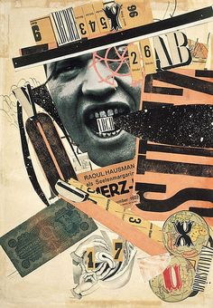 ABCD Self-portrait (deliberately random assemblage of newspaper clips and cutout letters), Raoul Hausmann, 1923
