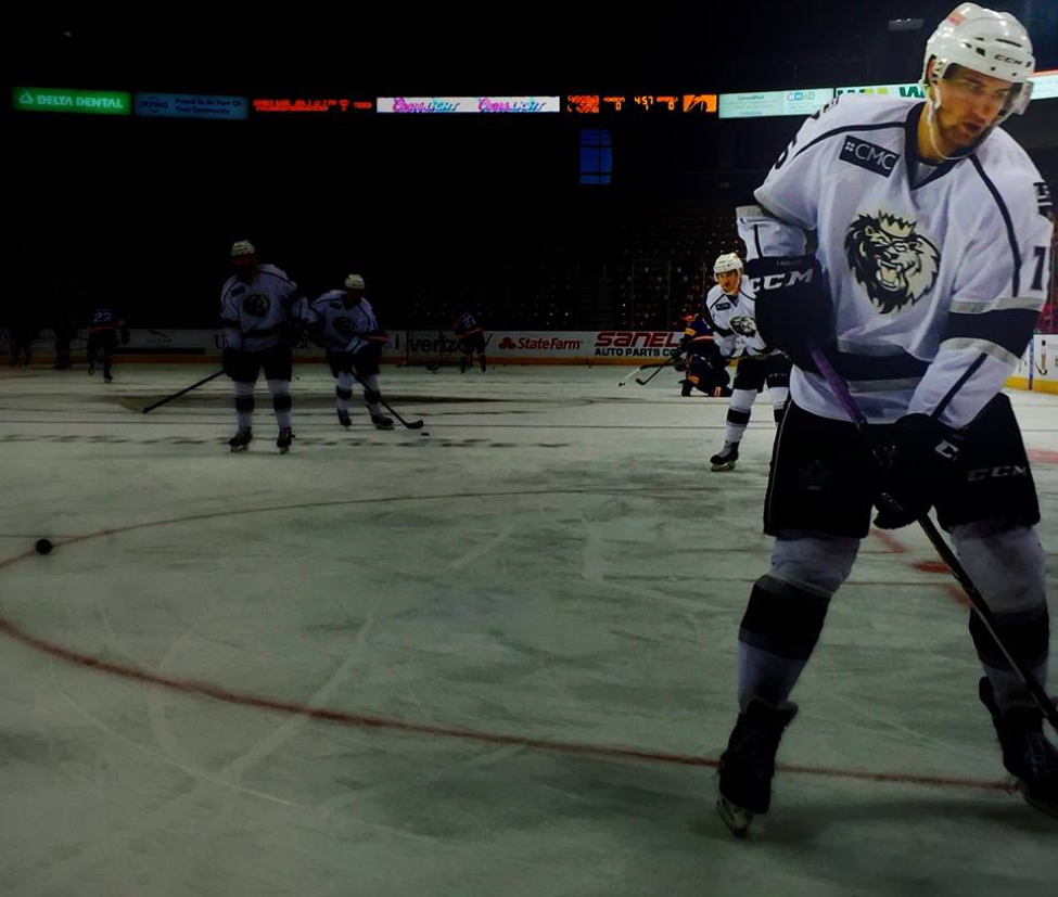 We used burst mode to get this shot. It was our favorite in the series of photos. This photo was captured during the Manchester Monarchs (ECHL hockey team for the LA Kings) warmup prior to a game last season.