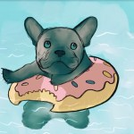 Animation of Donut Puppy Swimming