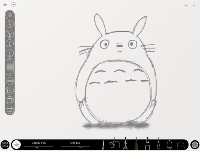 Lorelei's sketch of Totoro on Animation Desk