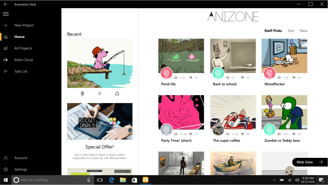Access AniZone directly from Animation Desk app!