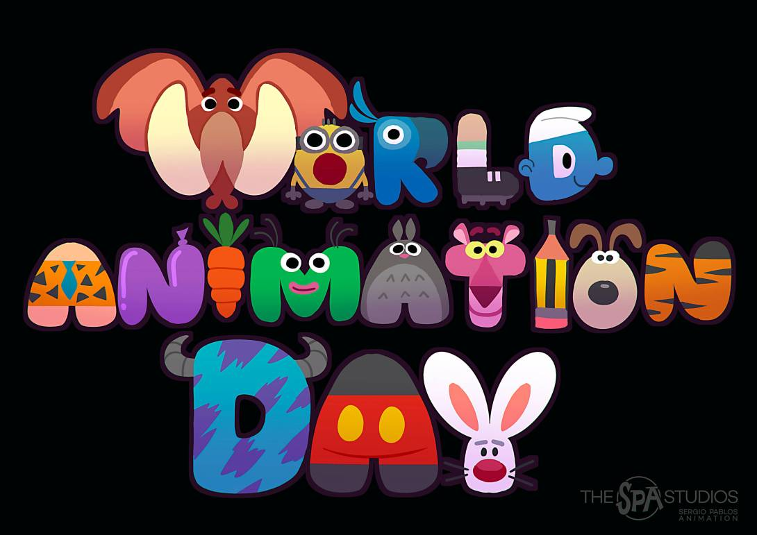 World Animation Day spelled our with different animated characters as letters