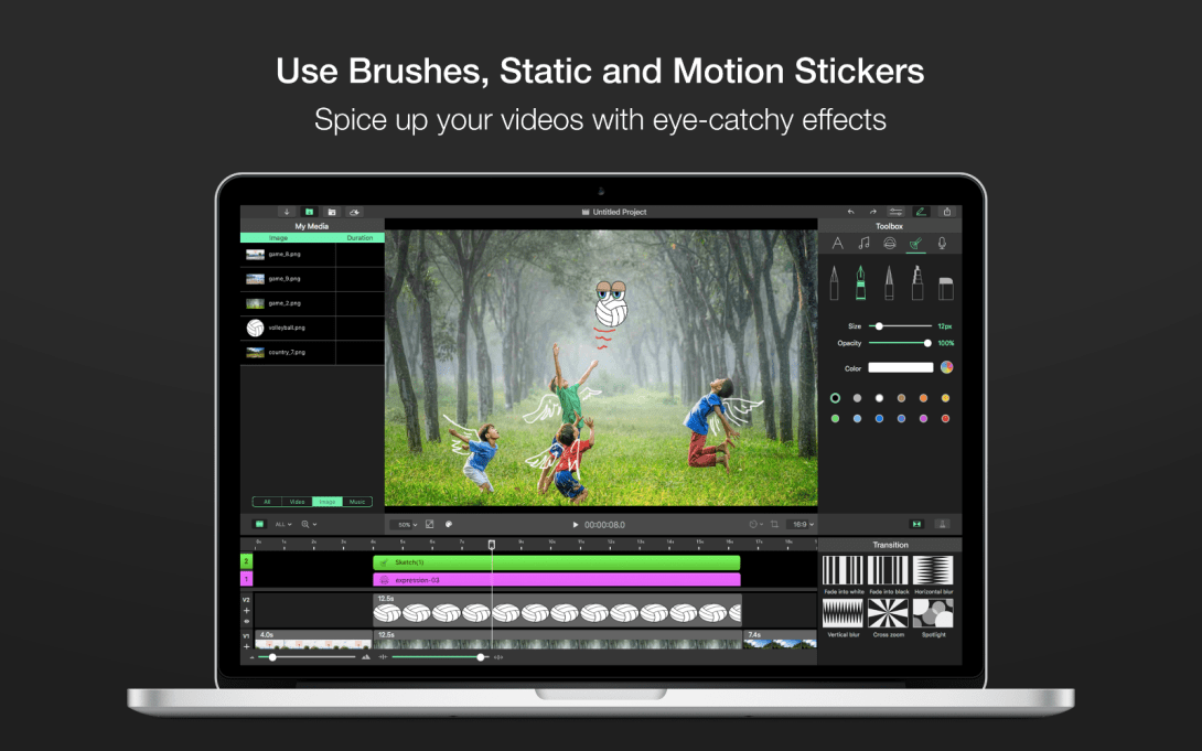 Use Brushes, Static and Motion Stickers