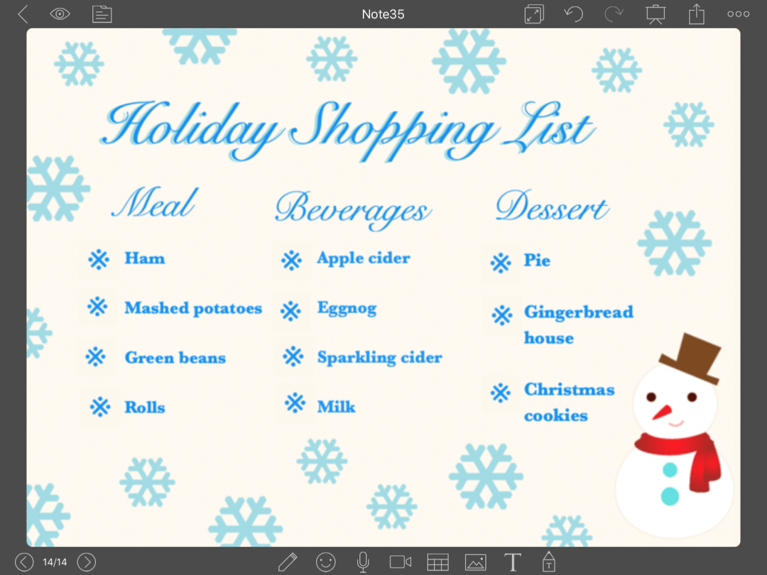 Holiday Grocery List