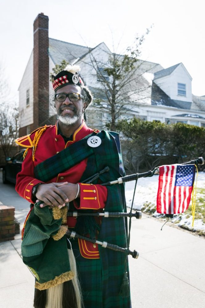 Bagpiper at the Queens County St. Patrick's Day Parade, by NYC photojournalist, Kelly Williams
