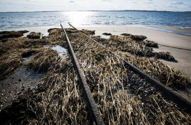Railroad tracks in Jamaica Bay in Queens