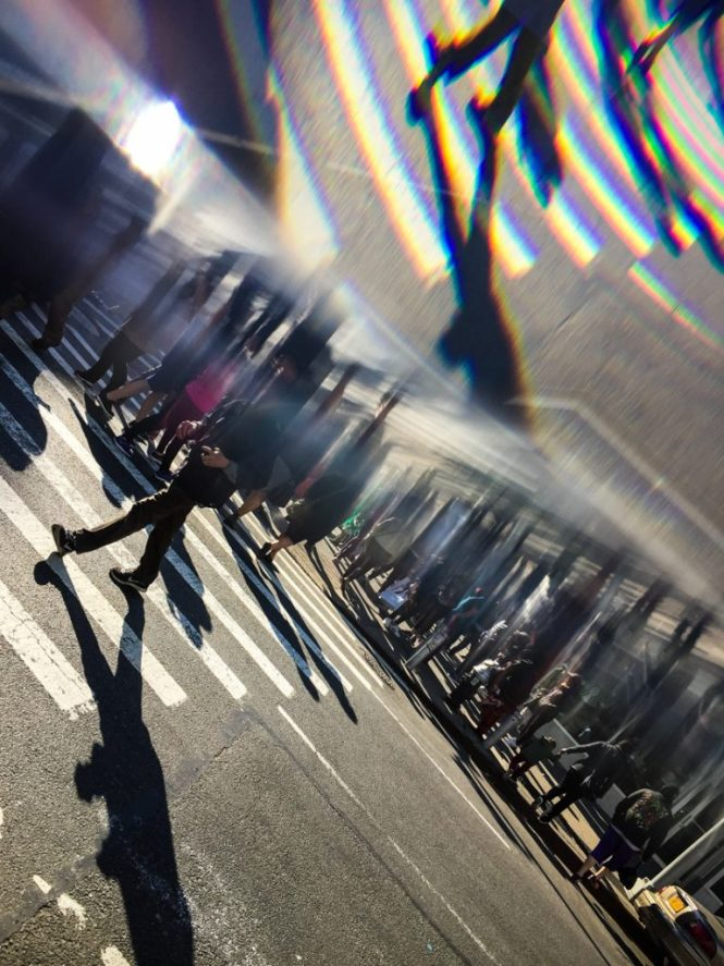 NYC street photography using a prism
