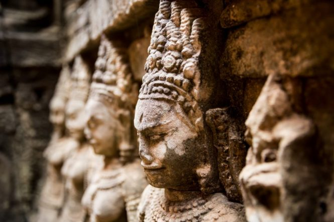 Sculpture on the Terrace of the Lepper King for an Angkor Wat temple guide