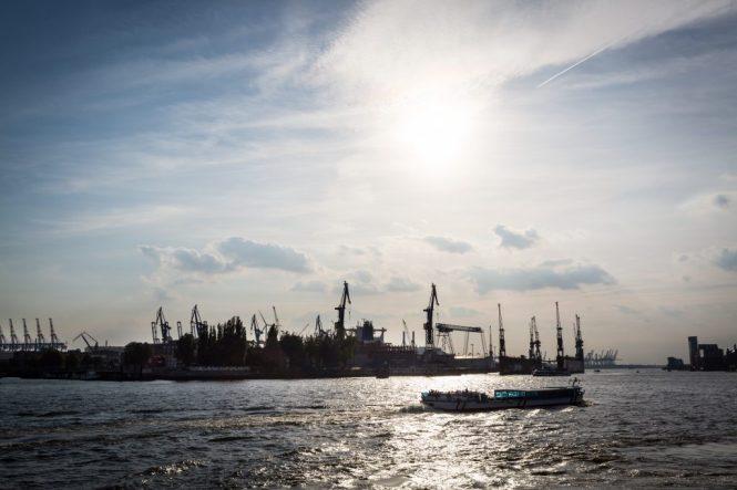 Boats in harbor in Hamburg, Germany