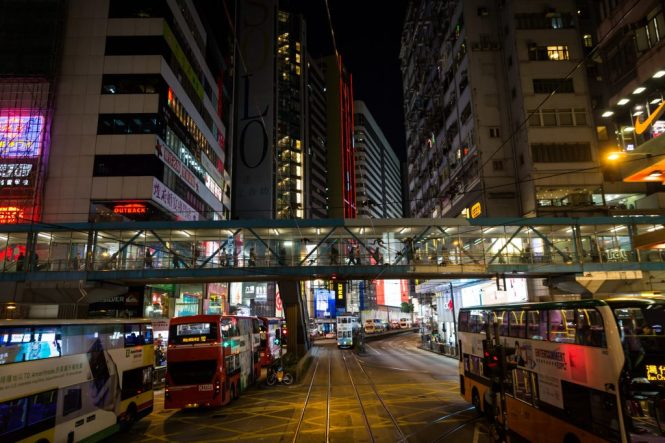 People on elevated sidewalk for a Hong Kong street photography series called the view from the ding ding