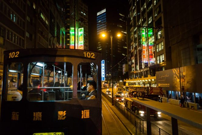 Ding ding on Hennessy Street for a Hong Kong street photography series called the view from the ding ding