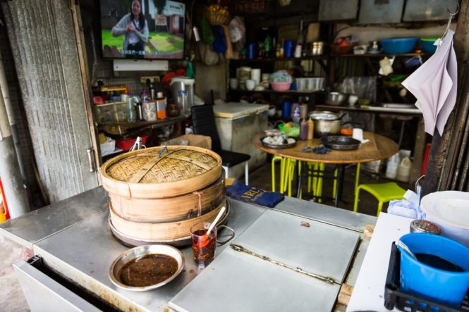 Bamboo steamer and restaurant for a Hong Kong travel guide article