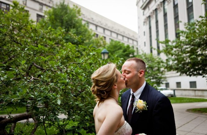 Bride and groom portrait after a NYC City Hall wedding, by Kelly Williams