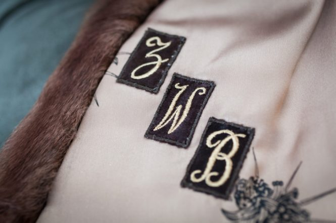 Embroidered monogram for an article on creative borrowed and blue wedding ideas