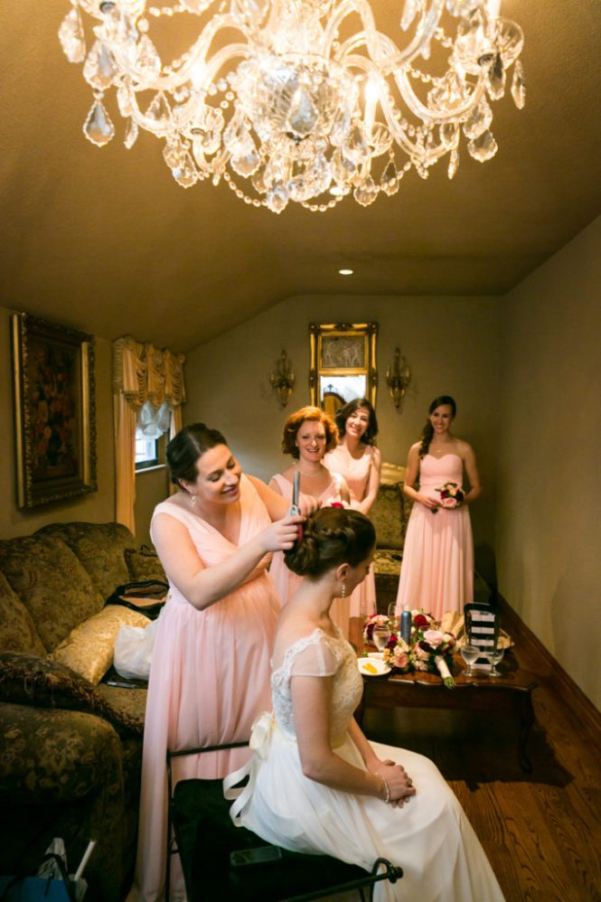 Bridal party portrait for an article on photo tips for mismatched bridesmaid dresses