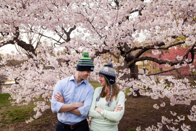 Engagement shoot during cherry blossom season for an article on photography dates to remember