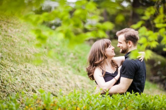Couple dancing at the Brooklyn Botanic Gardens for an article on best engagement photos