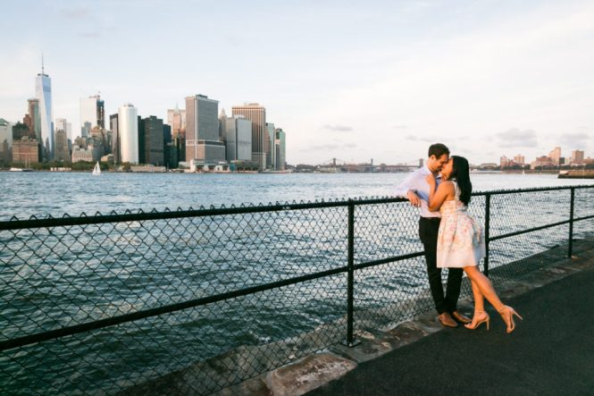 Couple on Governors Island for an article on best engagement photos
