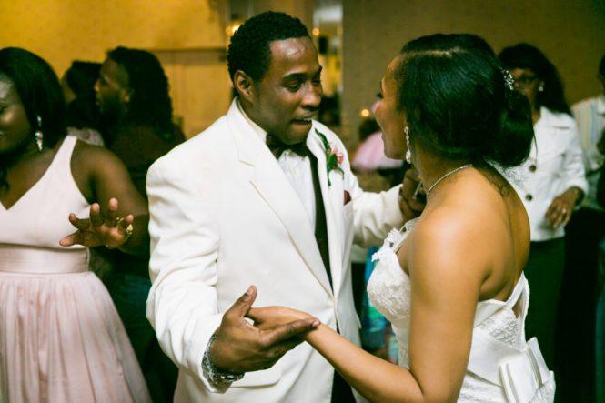 Bride and groom dancing at a Glen Terrace wedding