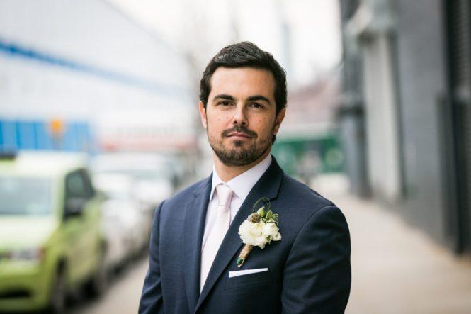 Groom portraits at a Wythe Hotel wedding