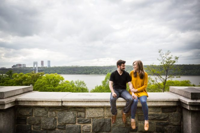 Couple at a Fort Tryon Park engagement portrait