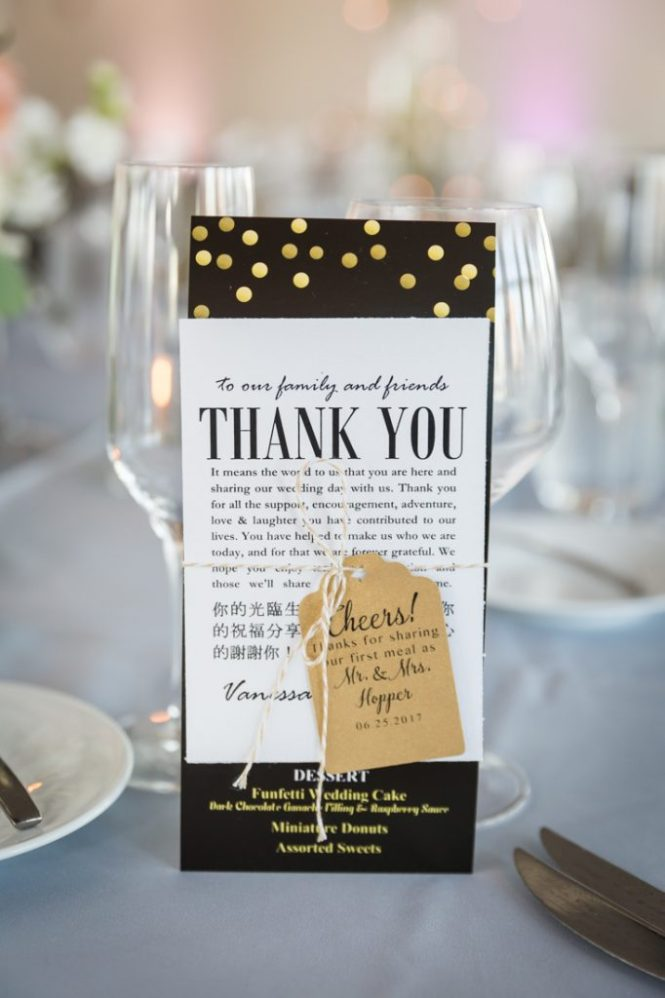 Menu cards as a wedding DIY project