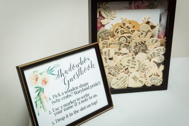 Shadowbox guest book as a wedding DIY project