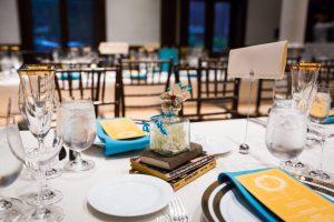 Wedding reception table setting at a Brooklyn Historical Society wedding