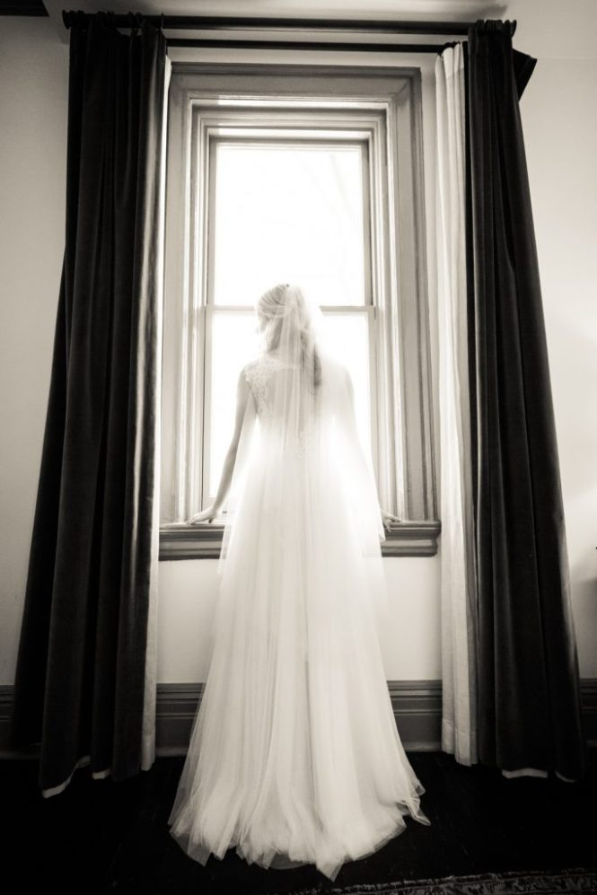 Bridal portrait at window before a Gallow Green wedding