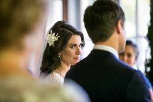 Bride looking at groom for an article on wedding officiant tips