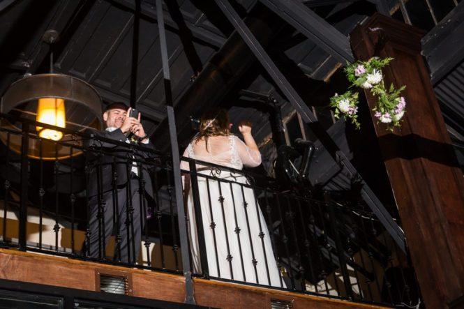 Bouquet toss at a 26 Bridge wedding